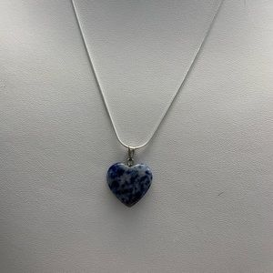 Blue Marbled Heart Crystal Necklace